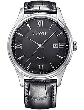 GNOTH Herren Schwarz Klassisch Analog Quarz Armbanduhr mit Lederband Datumsanzeige