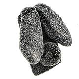 Jorisa Plüsch Hülle Kompatibel mit Samsung Galaxy S8,Niedlich Pelzig Hase Ohren Flauschige Haarball Weich Winter Warm Handyhülle Süße Kaninchen Faux Pelz Glitzer Diamant Schale,Dunkelgrau -