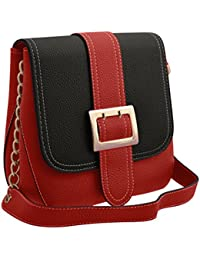TAP FASHION Stylish Casual Fancy Elegant PU Leather Women's Handbag With Sling Belt (Red & Black, WSB-4370-100...