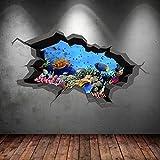 Wall Smart Designs Unterwasser gebrochenen Cave Aquarium Fisch 3D Art Wand Aufkleber Jungen Aufkleber Wandbild Neue 13