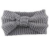 Covermason Damen Gestrickt Häkelarbeit Stirnband Winter Kopfband Haarband (Grau)