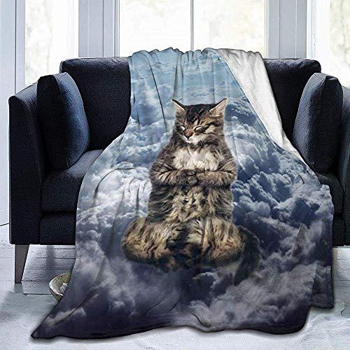 Searster$ Fleece Blanket Fleecedecke Niebo Chmury Cool Cat Lightweight Plüsch Mikrofaser Tagesdecken Micro Fleecedecke Throw für Bademantel,102X127Cm -