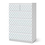 Klebefolie für IKEA Malm 6 Schubladen (hoch) | Möbelsticker Klebesticker Tapete Folie Möbel dekorieren | Wohnen & Dekorieren Schlafzimmer-Dekoration Moderne Deko | Muster Ornament Retro Pattern - Blau