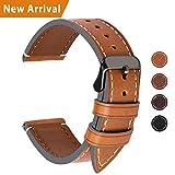 Fullmosa Ersatz Armbänder für Uhr in 4 Farben, Wax Series Echtes Leder Uhrenarmband/Wactch Armband/Replacement für 22mm,Hellbraun + Rauchgraue Schnalle