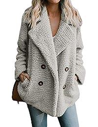 Yidarton Femme Manteau Manche Longue Streetwear Jacket Cardigan Mode Hiver  Chaud Peluche Blouson 91030df2d13f