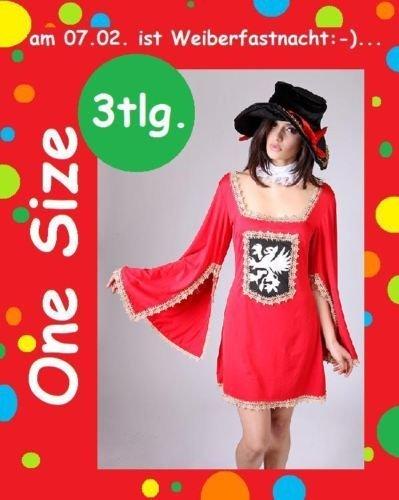 3-tlg Sexy Musketier Kleid Kostüm Karneval Fasching Party Einheitsgröße One (Kostüme Musketiere 3)
