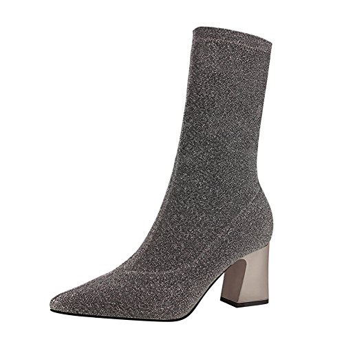 iefe - Sexy Slim Pailletten Slip on Ankle Boots Winter Warm Mode Einfarbig Stiefel Schuhe (Pailletten-stiefeln)