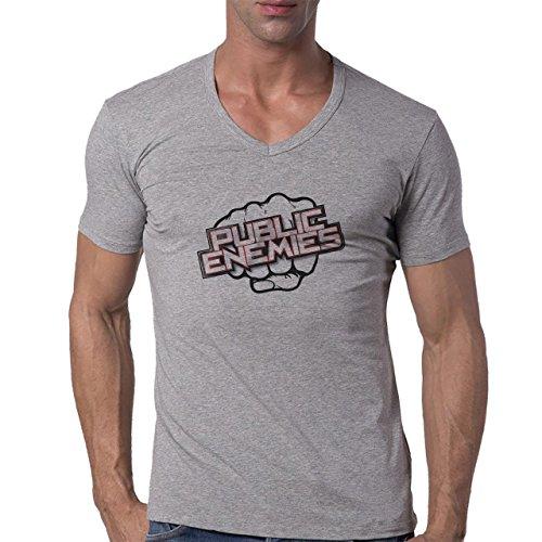 Publick Enemies Fist Shiny Logo Herren V-Neck T-Shirt Grau