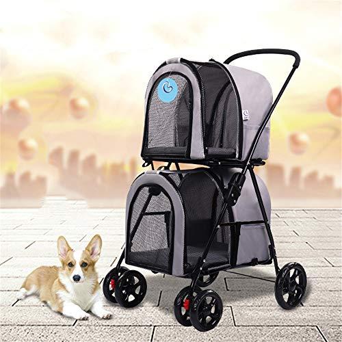 FAMLYJK 4-Rad-Doppelkinderwagen für Hunde und Katzen, faltende fördermaschine der haustierreise, schlendernder warenkorb,Ideal für Reisen mit Zwei oder Mehreren Haustieren,Gray -