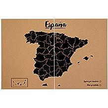 Miss Wood Woody Map XXL - Mapa del mundo de corcho con diseño España , color negro