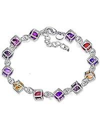 b0b40eb4f7a3 Leisial™ Mujeres de Pulsera de Diamantes de Colores Joyería Cristal para  Regalos de Cumpleaño Accesorios