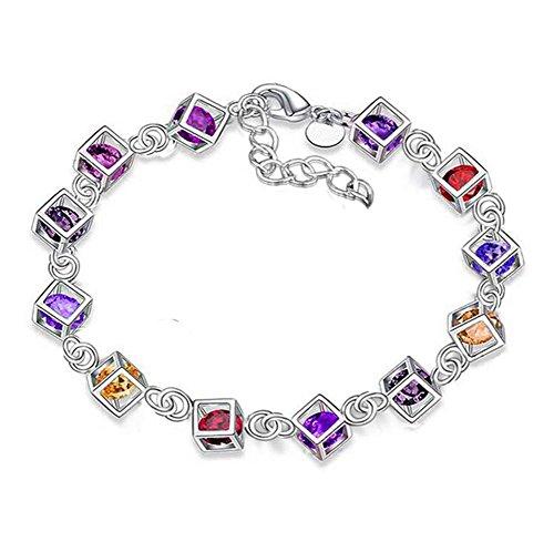 Leisial™ Mujeres de Pulsera de Diamantes de Colores Joyería Cristal para Regalos de Cumpleaño Accesorios de Boda Novia