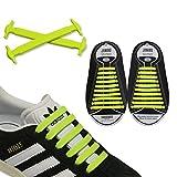 JANIRO Elastische Silikon Schnürsenkel – flexibler Schuhbänder Ersatz ohne Binden - Kinder & Erwachsene - 20 Stück- Gelb