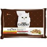 Gourmet a la Carte Katzenfutter Huhn, Rind, Forelle, Seelachs, 12er Pack (12 x 4 x 85 g)