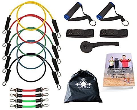 Resistance Bands Set by Penguin Fit – For Men & Women – Tone @ Home with free BONUS 101 Exercise Booklet and Legs Bands - 5 Quality Fitness Tubes, Door Anchor, Handles, Ankle Straps & Carry