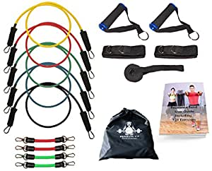 Resistance Bands Set by Penguin Fit - For Men & Women - Tone @ Home with free BONUS 101 Exercise Booklet and Legs Bands - 5 Quality Fitness Tubes, Door Anchor, Handles, Ankle Straps & Carry Case