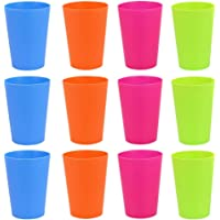 GOLRISEN 12 Pcs Plastic Cups Reusable BBQ Cups 250ml Plastic Cups for Indoor or Outdoor Parties Camping (4 Colors)