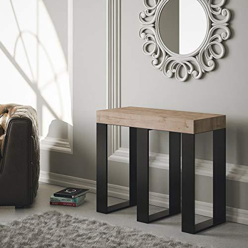 Group Design Sintesi Table console extensible, en chêne naturel, équipée d'une structure anthracite - Fabriquée en Italie - 14 personnes- 3mètres