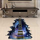 (Hjcmhjc) Grande Adesivo Da Parete 3D Spazio Cosmico Galaxy Star Legno Ponte Decorazione Della Casa Per La Camera Del Ragazzo Del Pavimento Soggiorno Parete Decalcomanie Home Decor 70 * 90Cm