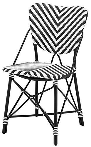 Casa Padrino Designer Gartenstuhl Schwarz/Weiß - Luxus Gartenmöbel