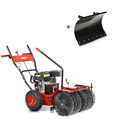 HECHT Benzin-Kehrmaschine 8616 SE Multifunktionsgerät Kehrbesen Kehrbürste + 230V Elektro-Start Funktion (inkl. Schneeschild)