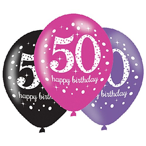6 x 50th Birthday Balloons - Pink Celebration - Black Pink Lilac