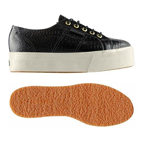 Donne Nera Pelle Sneaker Bassa Fglwembcocco 2790a Liscia Superga rqrfT