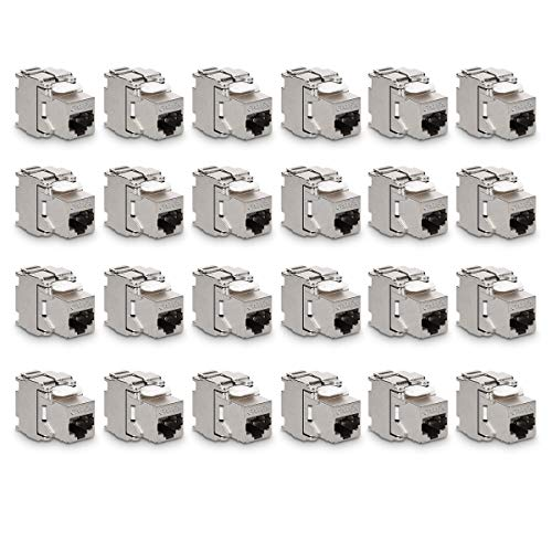 kwmobile 24x Keystone Modul für CAT 6A Kabel - 10 Gbit/s geschirmt Metall Gehäuse Schnappverschluss - werkzeugfreier Anschluss an Modular Patchpanel - Stecker Keystone Jack