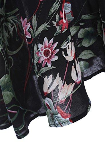 Azbro Women's V Neck Elastic Waist Floral Printed Maxi Bohemian Dress Black