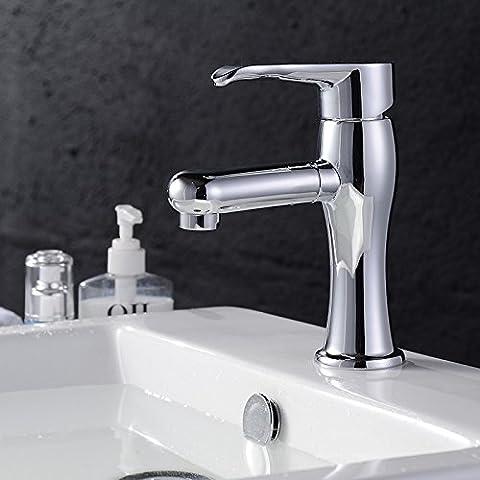 BFDGN Semplice Morden durevole e robusto il rame spazzolato per rubinetti lavandini bagno La chiave in acciaio inossidabile riscaldata a caldo e a freddo Rubinetti per lavandini bagno (Dare 1/2 Hot &a freddo dei tubi flessibili acqua )