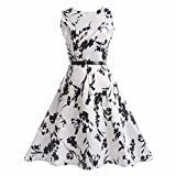 Mädchen Prinzessin Kleid Sannysis Kid Kind Mädchen Feder Print Hochzeit Sommer Prinzessin Kleid + Gürtel Kleidung (Weiß2, 160)