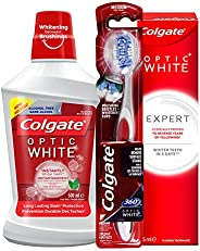 Colgate Optic White Expert Whitening Toothpaste, 75 ml + Mouthwash, 500 ml +Toothbrush, Medium, 1 Piece