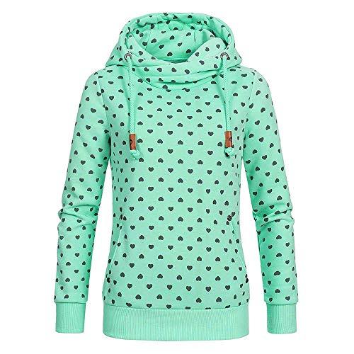 VEMOW Heißer Damen Frauen Beiläufige Hooded Pullover Lace-up Hut Farbverlauf Baumwolle Casual Täglichen Freizeit Outdoors Sweatshirt Hoodies(A-Grün, EU-40/CN-XL)