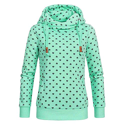 HUIHUI Damen Bekleidung Damen Pullover Winter Gerry Weber Kapuzenpullover Herren mit reißverschluss Lose Asymmetrisch Sweatshirt (Grün,M) -