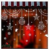Cosanter 1 X Noël Bonhomme de Neige Stickers Muraux Ornements de étoiles Boule de Noël Autocollant Mural pour Vitrine Mur Voiture