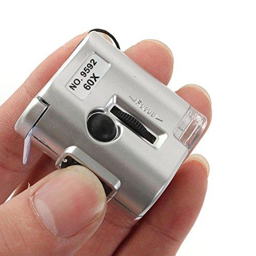 Loupe - TOOGOO(R)LED 60X microscopio gioielliere Loupe Lente D\'ingrandimento luminosa vetro UV