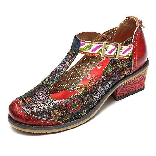 gracosy Damen Mary Jane Schuhe Leder Low Block Heels Pumps Atmungsaktives Mesh Freizeitschuhe Vintage Chic Party Schuhe Retro Handgefertigte Schuhe Bunte Block Heel Mary Jane Pump