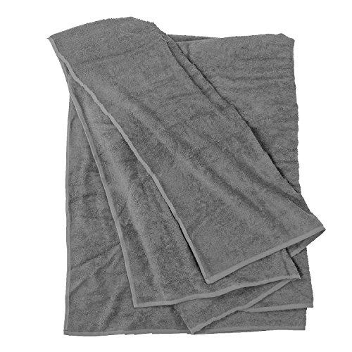 Badehandtuch groß I Strandhandtuch I Handtuch I Strandtuch XXL I Saunatuch I Großes Handtuch I Badetücher I Badetuch groß in grau von Big-Basics in Übergrößen bis 155 x 220 cm, Größe:155x220