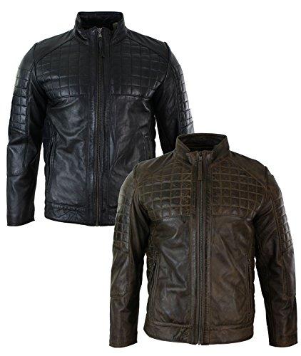 Herrenjacke 100% Echtleder Schwarz Braun Tailored Fit Biker Stil Designer Schwarz