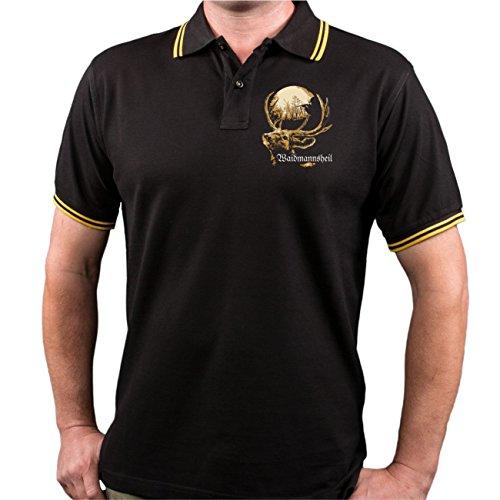 Männer und Herren POLO Shirt HALALI Tradition & Brauchtum (mit Rückendruck) schwarz/gelb s