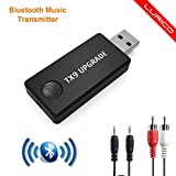 Transmisor Bluetooth, LURICO Transmisor de Música Bluetooth Adaptador, 3.5mm Audio Jack Soporte Auriculares o Altavoces para TV/DVD/MP3
