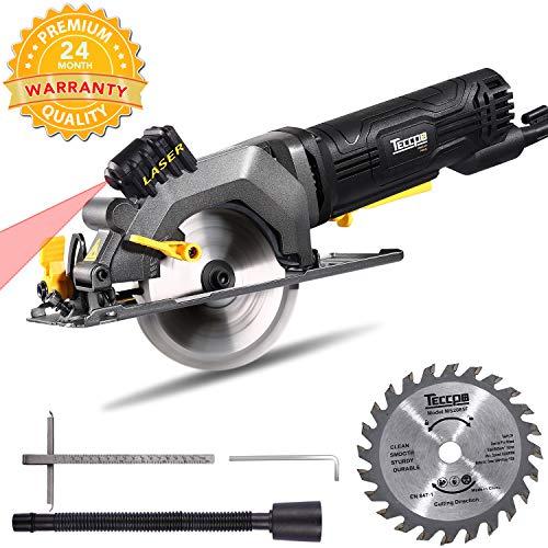 Handkreissäge, Teccpo Kreissäge 480W, reiner Kupfermotor, mit Laserführung, Schnitttiefe 43 mm (90 °), 28 mm (45 °), Sägeblattdurchmesser: Ø 115 mm, 2m Kabel, einstellbarer Schnittwinkel - TAMS24P
