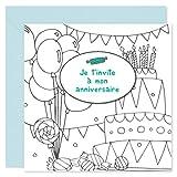 popcarte • 16 Cartes d'invitation Anniversaire Coloriage avec Enveloppes • A colorier (Goûter)...