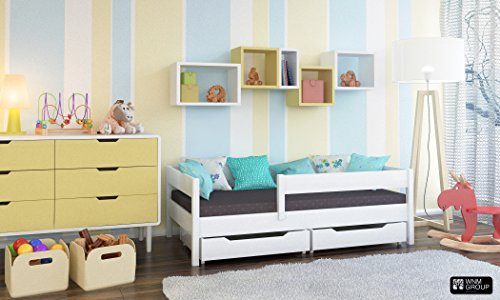 *Kinder Einzelbett Miki mit Schubladen 4Farben viele verschiedenen Größen -, holz, weiß, 200×90*
