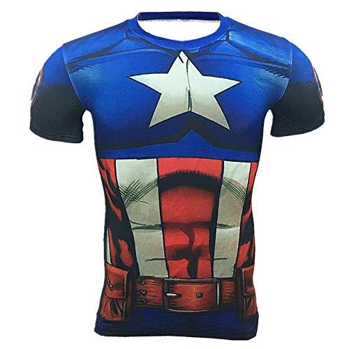 HOOLAZA Avengers Super Heroes Männer Kompressions-T-Shirt Captain America Tops Fitness