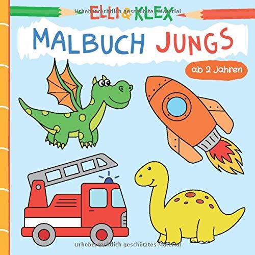 Malbuch Jungs ab 2 Jahren: Ausmalen und Kritzeln für Kleinkinder zu den Themen Tiere, Piraten, Ritter, Urlaub, Autos, Weltall und mehr