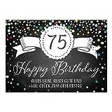 Große XXL Design Glückwunsch-Karte zum 75. Geburtstag mit Umschlag/DIN A4/Tafel-Look Konfetti/Grußkarte/Geburtstagskarte/Happy Birthday