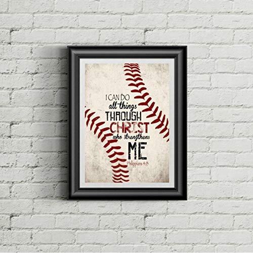Christian Baseball Vintage Poster kunstdrucke Christus Zitate leinwand malerei Junge Zimmer Retro Bild Wand dekor 60x80 cm -