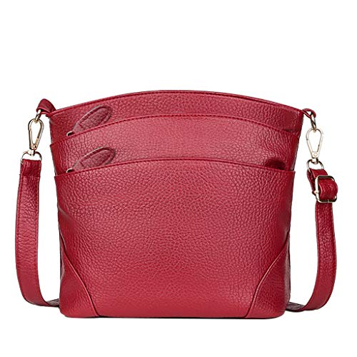 Mitlfuny handbemalte Ledertasche, Schultertasche, Geschenk, Handgefertigte Tasche,Frauen-einfache beiläufige Kuriertasche-Multi Reißverschluss-Spassvogel-Umhängetasche