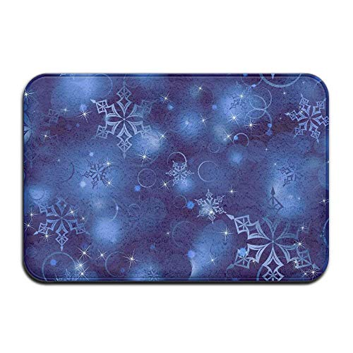 Miedhki Snowflake Blue Made to Measure Super Soft Super Absorbent Point Plastic Anti-Slip Base 23.6x15.7 inch Easy Clean Entrance Rug Floor Mats Rectangular Paillasson